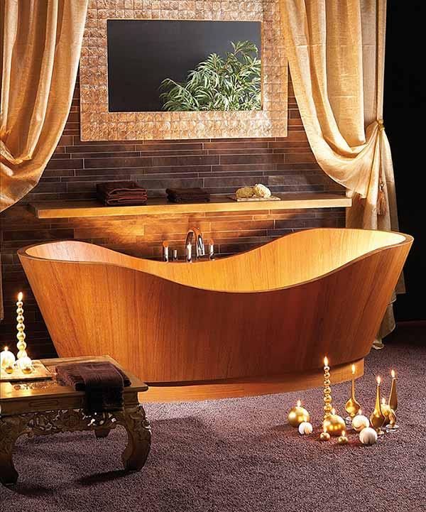 אמבטיה מעוצבת מעץ מלא