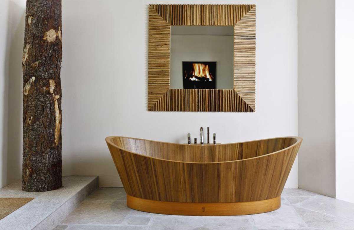 אמבטיה מעוצבת מעץ