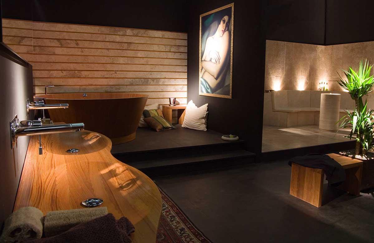 אמבטיה יוקרתית מעץ