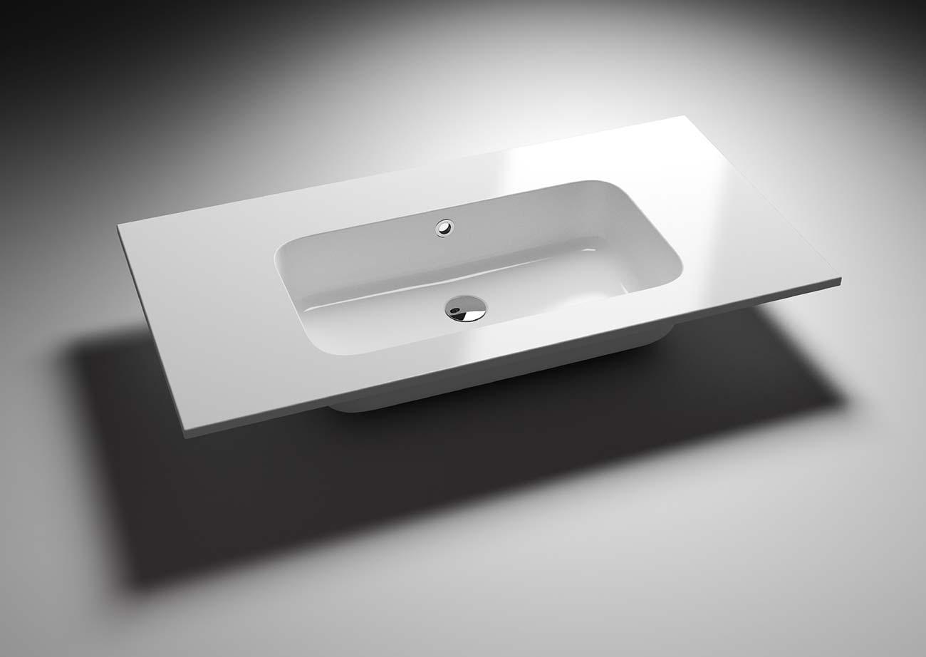 כיור מלבני לבן לאמבטיה