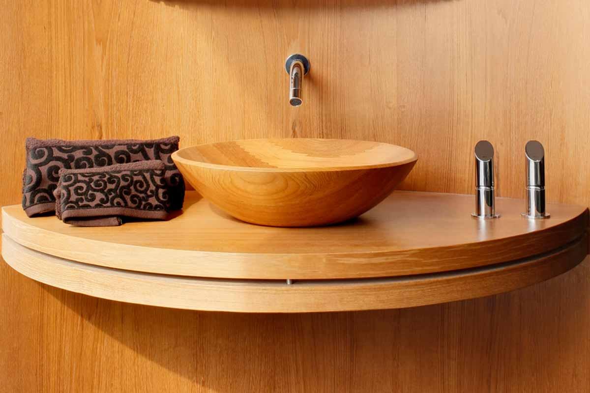 כיור אמבט מעוצב מעץ